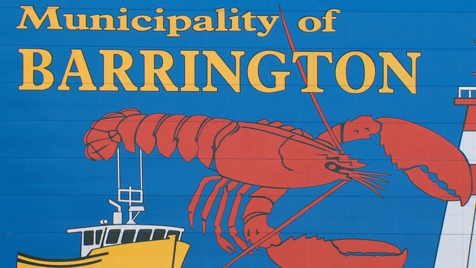 A sign for the municipality of Barrington, N.S. is seen here.