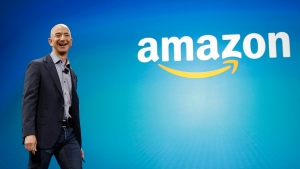 In this June 16, 2014, file photo, Amazon CEO Jeff Bezos walks onstage for the launch of the new Amazon Fire Phone, in Seattle. (Ted S. Warren/AP Photo)