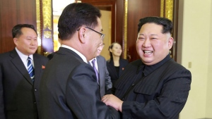 In this Monday, March 5, 2018 photo, provided by the North Korean government on March 6, NorthKorean leader Kim Jong Un, front right, meets South Korean National Security Director Chung Eui-yong, front left, in Pyongyang, North Korea. Independent journalists were not given access to cover the event depicted in this image distributed by the North Korean government. The content of this image is as provided and cannot be independently verified. (Korean Central News Agency / Korea News Service via AP)