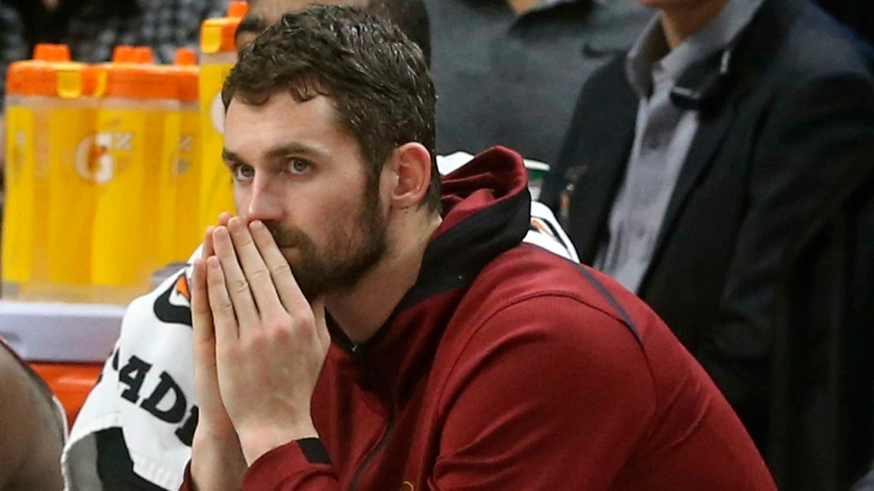 Cleveland Cavaliers' Kevin Love watches from the bench in the second half of an NBA basketball game against the Minnesota Timberwolves in Minneapolis, Jan. 8, 2018. (AP / Jim Mone)