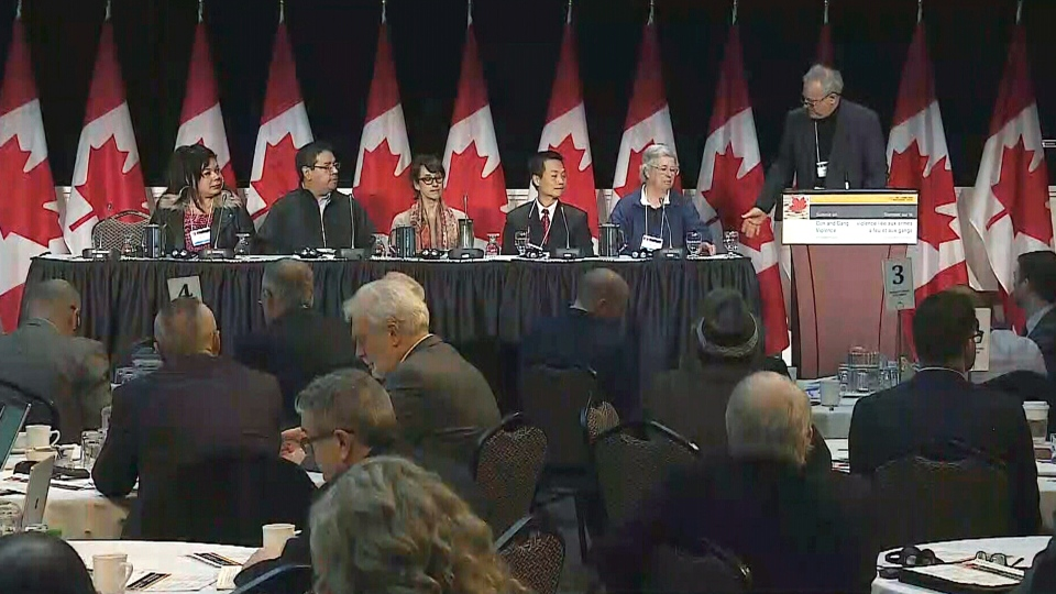Speakers at the national meeting on gun and gang violence, in Ottawa, Wednesday, March 7, 2018.