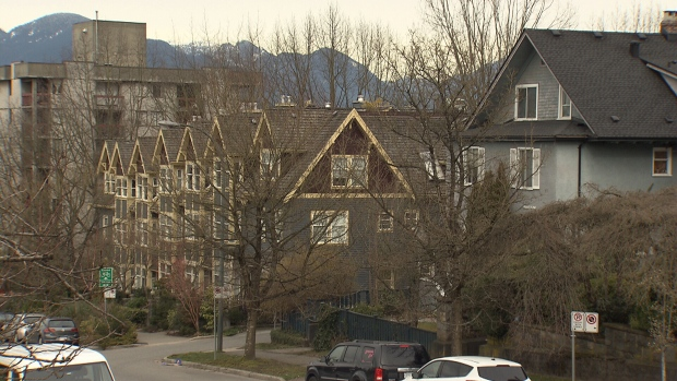 A row of homes in Vancouver are seen in this image from March 7, 2018.