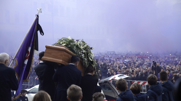 Davide Astori's coffin leaves the church