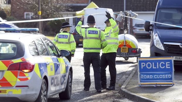 Police near Sergei Skripal's home in Salisbury
