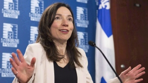 Bloc Quebecois leader Martine Ouellet speaks at a news conference, Tuesday, March 14, 2017 in Quebec City. THE CANADIAN PRESS/Jacques Boissinot
