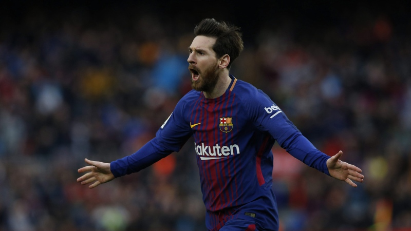 FC Barcelona's Lionel Messi after scoring against Atletico Madrid on March 4, 2018. (Manu Fernandez / AP)