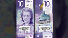 A combination photo of samples of the new $10 Canadian bill, featuring civil rights icon Viola Desmond. (THE CANADIAN PRESS / HO-Bank of Canada)