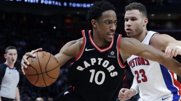 Toronto Raptors guard DeMar DeRozan in Detroit