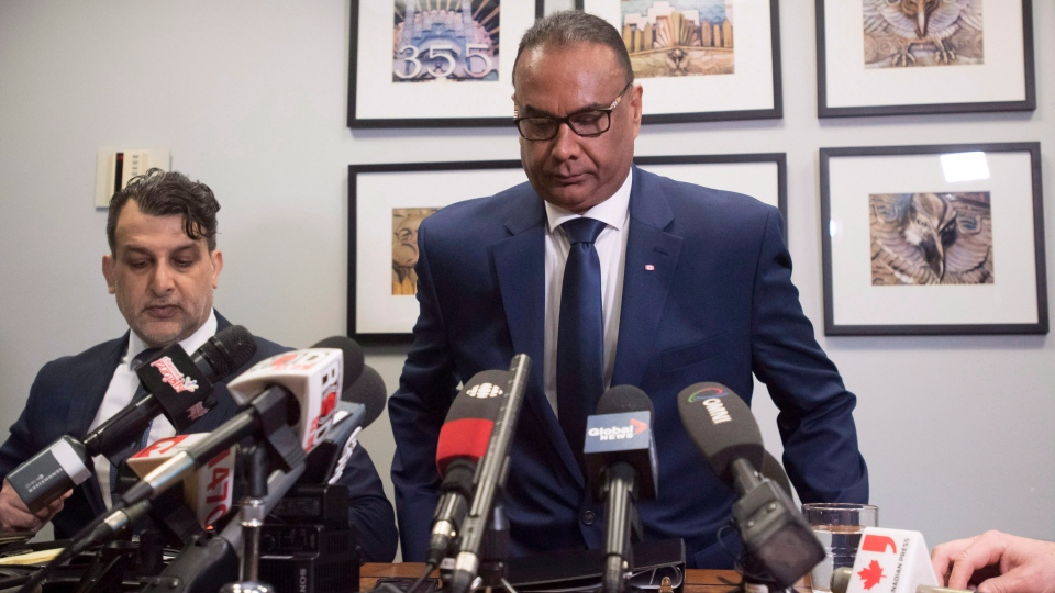 Jaspal Atwal, right, speaks to the media with his lawyer in Vancouver, Thursday, March 8, 2018.