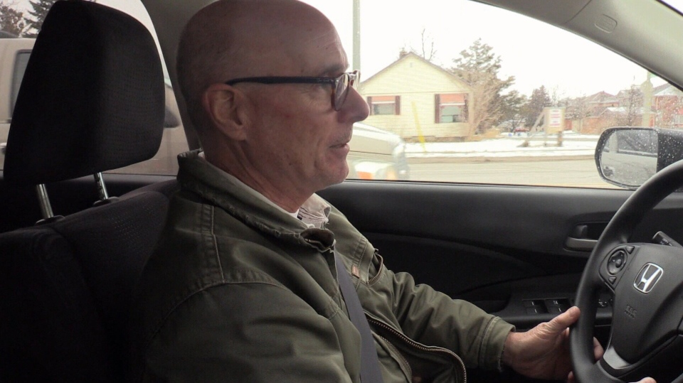 Uber driver Jean Theriault drives around Innisfil, Ont. on Thursday, March 8, 2018. (Mike Arsalides/ CTV Barrie)