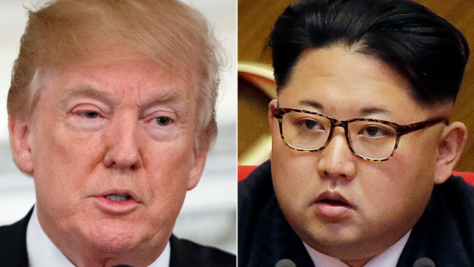 This combination of two file photos show U.S. President Donald Trump, left, speaking in the State Dining Room of the White House, in Washington on Feb. 26, 2018 and North Korean leader Kim Jong Un attending in the party congress in Pyongyang, North Korea on May 9, 2016. (AP Photo/Evan Vucci, Wong Maye-E, File)