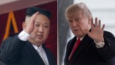 Kim Jong Un, left, and Donald Trump