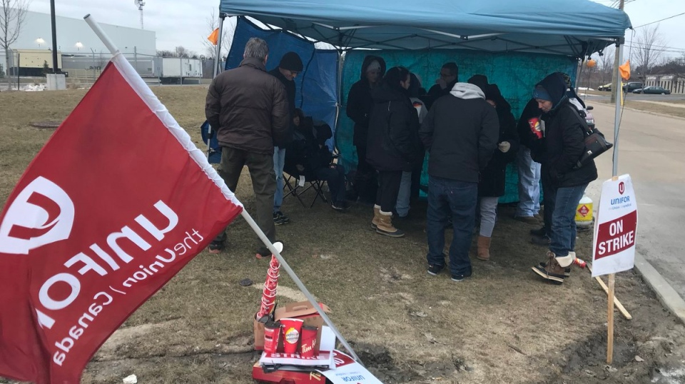 Workers at ZF-TRW have hit the picket lines after rejecting a tentative deal on March 9, 2018. (Angelo Aversa / CTV Windsor)
