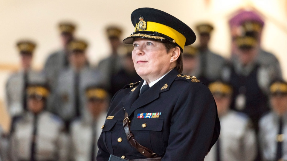 Brenda Lucki speaks during a press event at RCMP 'Depot' Division in Regina, Saskatchewan on Friday March 9, 2018. Lucki, who was Depot's commanding officer, was appointed Canada's first permanent female RCMP commissioner. THE CANADIAN PRESS/Michael Bell