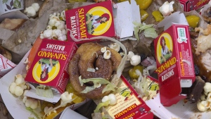Paper products and food scraps for composting. (Eric Gregory/The Journal-Star via AP)