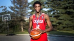 R.J. Barrett outside his home in Mississauga, Ont., on July 20, 2017. (Nathan Denette / THE CANADIAN PRESS)