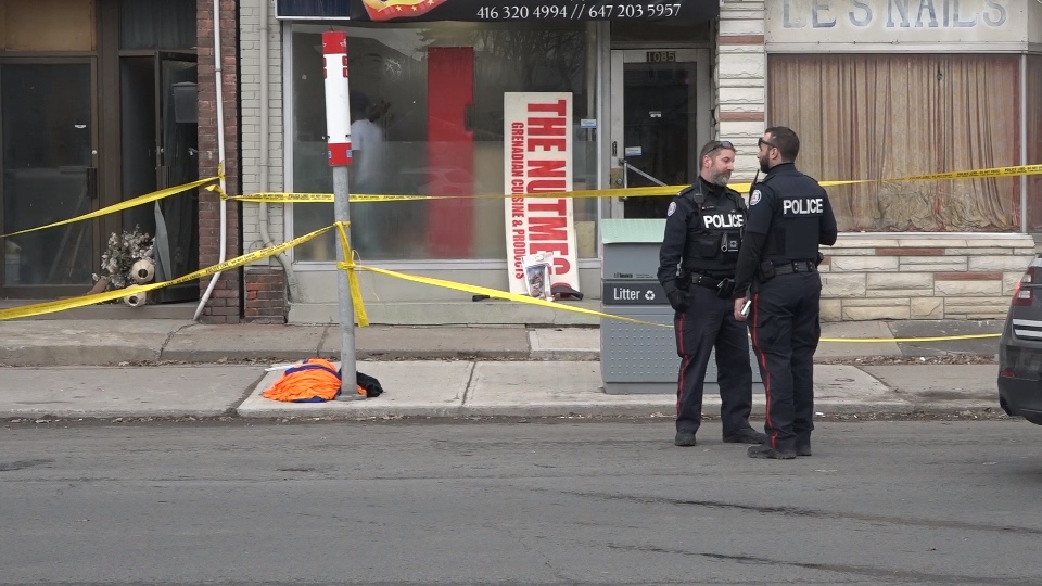 Police rope off scene of shooting near Eglinton Ave. and Weston Rd. on March 9, 2018.