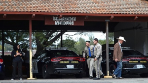 California Highway patrolmen arrive at the Veterans Home of California in Yountville, Calif., on Friday March 9, 2018. (AP Photo/Ben Margot)