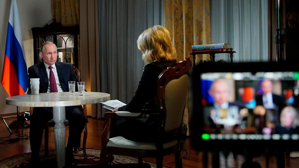 In this Friday, March 2, 2018 photo, Russian President Vladimir Putin, left, speaks during an interview with NBC News' Megyn Kelly in Kaliningrad, Russia. (Alexei Druzhinin, Sputnik, Kremlin Pool Photo via AP)