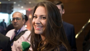Tanya Granic Allen talks with media as she attends the Ontario Progressive Conservative Leadership announcement in Markham, Ont. on Saturday, March 10, 2018. (THE CANADIAN PRESS/Chris Young)