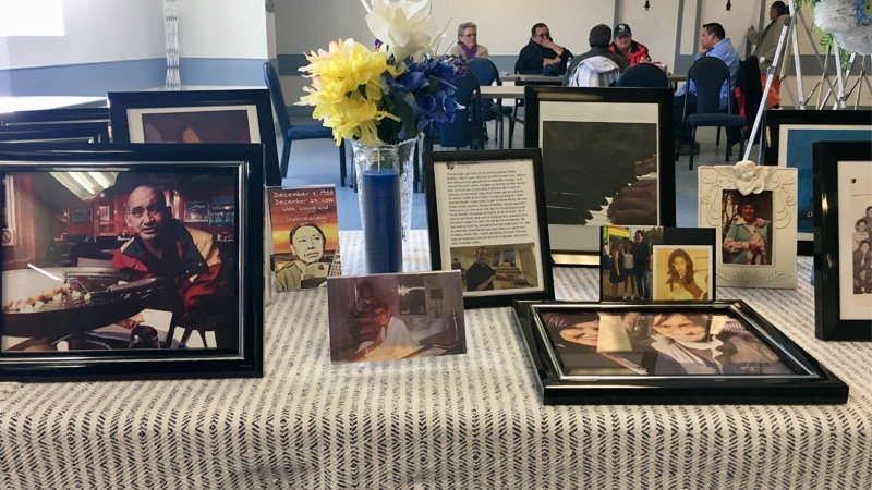 Photos of Ryan Arcand on display at his funeral on the Alexander First Nation reserve on Saturday, March 10, 2018.