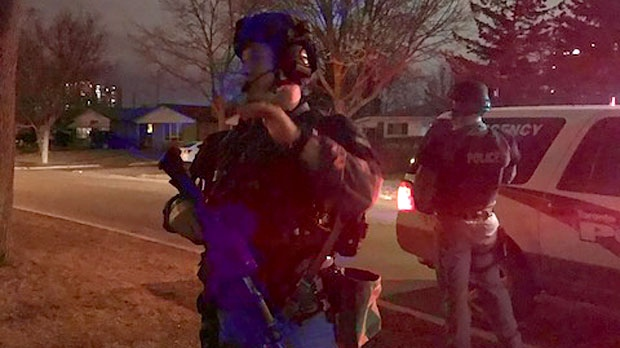 Heavily armed police searched an Etobicoke neighbourhood after a man in his 30s was shot multiple times on March 10, 2018. (Kiran Dhillon/CP24)