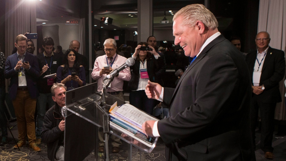Doug Ford greets the media after being named as the newly elected leader of the Ontario Progressive Conservatives at the delayed Ontario PC Leadership announcement in Markham, Ont., on Saturday, March 10, 2018. THE CANADIAN PRESS/Chris Young