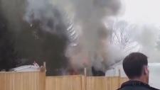 Massive smoke seen from garage fire on Britannia