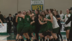 Saskatoon Huskies celebrate winning women's national semi-final.