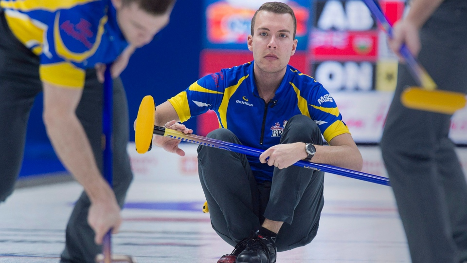 Alberta skip Brendan Bottcher delivers a rock as they play Ontario in semifinal action at the Tim Hortons Brier at the Brandt Centre in Regina on Sunday, March 11, 2018. (Andrew Vaughan/THE CANADIAN PRESS)