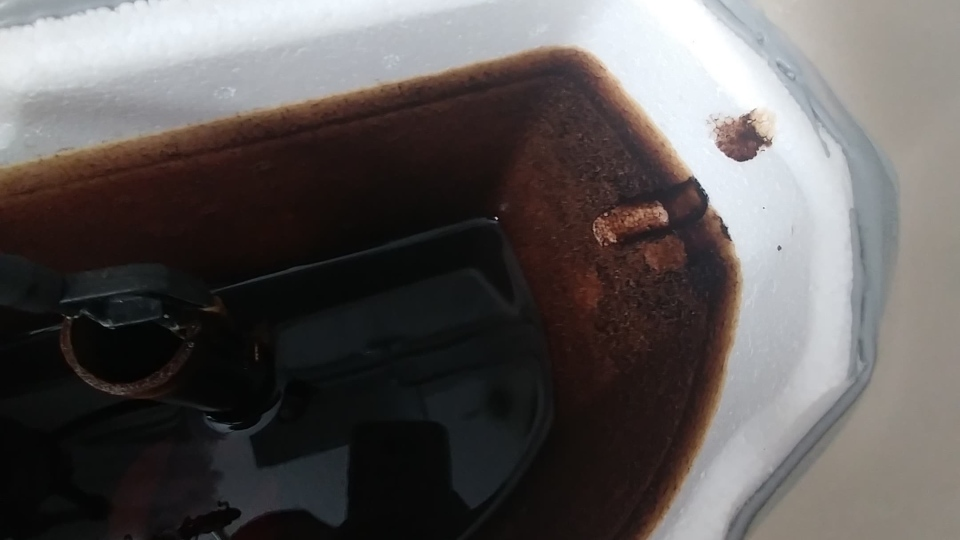 Dark brown water in Maria Classen's tub.