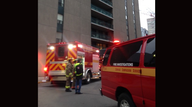 Fire crews are at the scene of a highrise fire in North York. (Cam Woolley/ CP24)