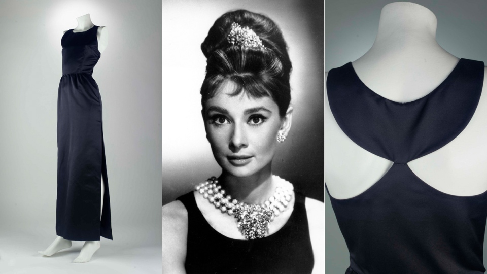 The black dress worn by actress Audrey Hepburn in the 1961 film, 'Breakfast at Tiffany's.'  (Christie's / AP)