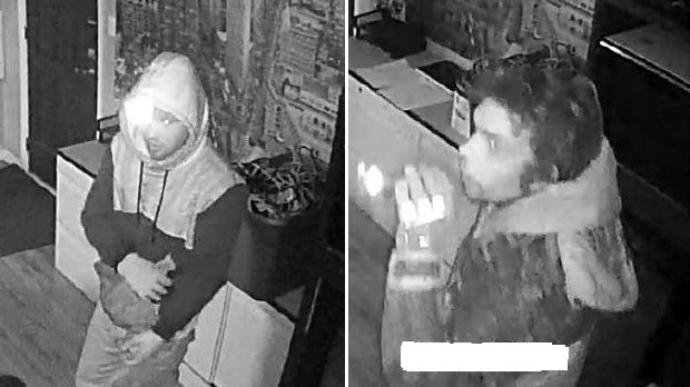 Two alleged tool thieves in Carp are both described as white men in their 20s. One of them was wearing a two-tone jacket with a grey hoodie underneath. The other was wearing a hunting jacket with a hood. (Police handout)