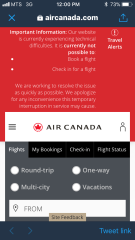 Screen grab taken from Air Canada's website at noon CST.