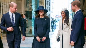 From left, Britain's Prince William, Kate the Duchess of Cambridge, Meghan Markle and Britain's Prince Harry arrive for the Commonwealth Service at Westminster Abbey, London, Monday, March 12, 2018.  (Paul Grover/Pool Photo via AP)
