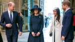 From left, Prince William, Kate the Duchess of Cambridge, Meghan Markle and Britain's Prince Harry arrive for the Commonwealth Service at Westminster Abbey, London, Monday, March 12, 2018.  (Paul Grover/Pool Photo via AP)