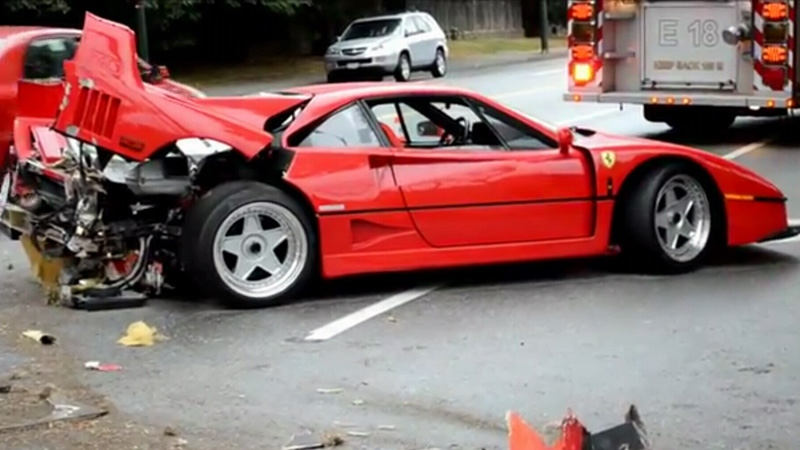A damaged Ferrari is seen in September 2012 in Vancouver. (YouTube)