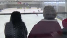 Spectators say this metal bar is impeding their vision to the brand new ice surface in Dartmouth.