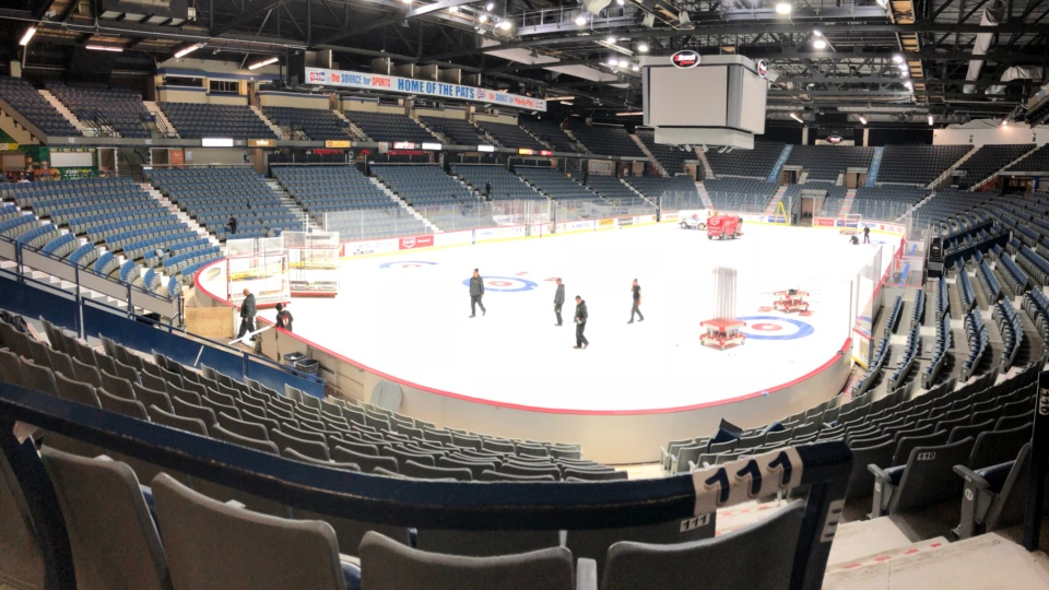 Crews clean up after the Brier at the Brandt Centre on March 12, 2018 (Jessica Smith / CTV Regina)