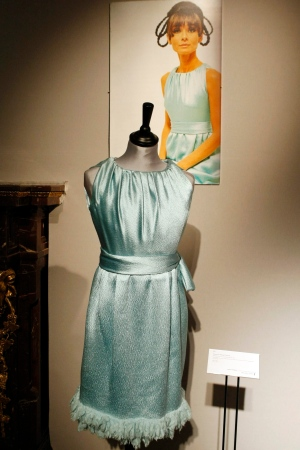 "A Givenchy Haute Couture turquoise silk gown that Audrey Hepburn wore in the 1967 film ""Two For The Road"" is exhibited among dozens of garments and personal items once belonging to the Hollywood star, in Paris, Tuesday Dec. 1, 2009. (AP / Francois Mori)"