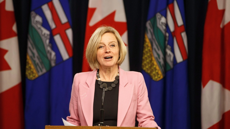 Alberta Premier Rachel Notley speaks to media before the Speech from the Throne, in Edmonton on Thursday, March 8, 2018. (Jason Franson/THE CANADIAN PRESS)