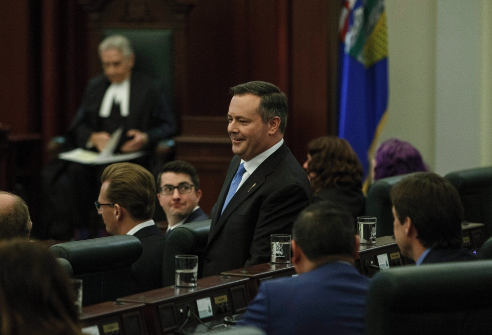 UPC leader Jason Kenney is introduced for the first time in the house before the Speech from the Throne, in Edmonton on Thursday, March 8, 2018. (Jason Franson/THE CANADIAN PRESS)