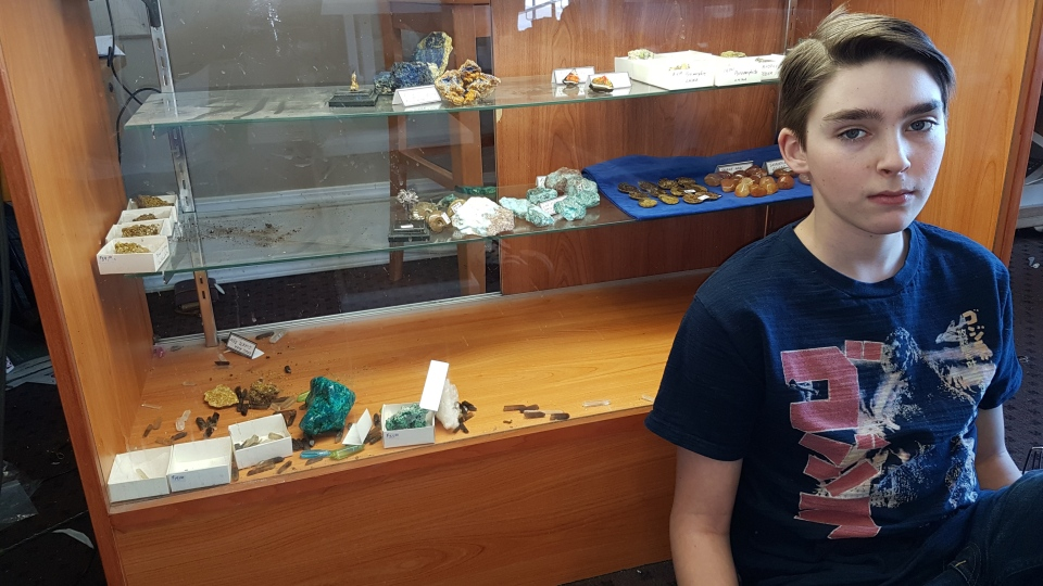 Judah Tyreman, who manages the Sesula Mineral and Gem Museum and Rock Shop in Radisson, Sask., says the museum was robbed over the weekend. He keeps his own rock collection at the museum. (supplied)
