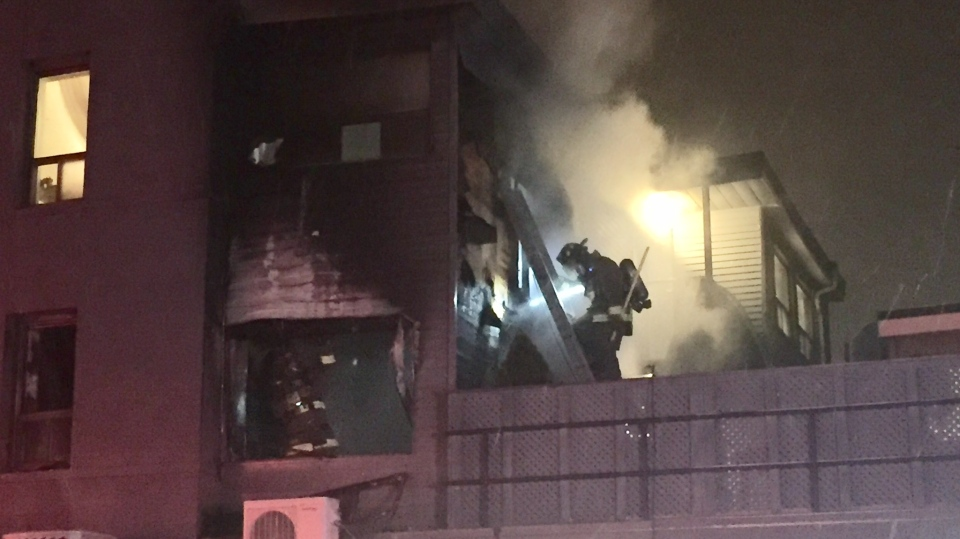 One person has been taken to hospital with minor smoke inhalation after a fire at a Midtown apartment building. (Michael Nguyen/ CP24)