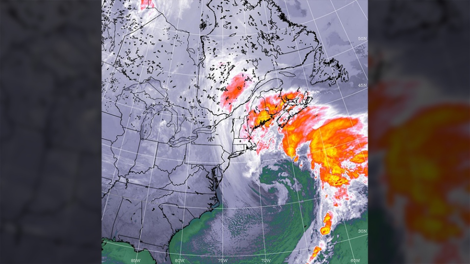 A storm is seen near eastern Canada at 7:45 a.m. ET on Tuesday, March 13, 2018. (Credit: Government of Canada)