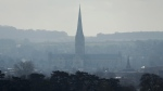 The combined tower and spire of Salisbury Cathedral in Salisbury, England, on March 13, 2018. (Matt Dunham / AP)