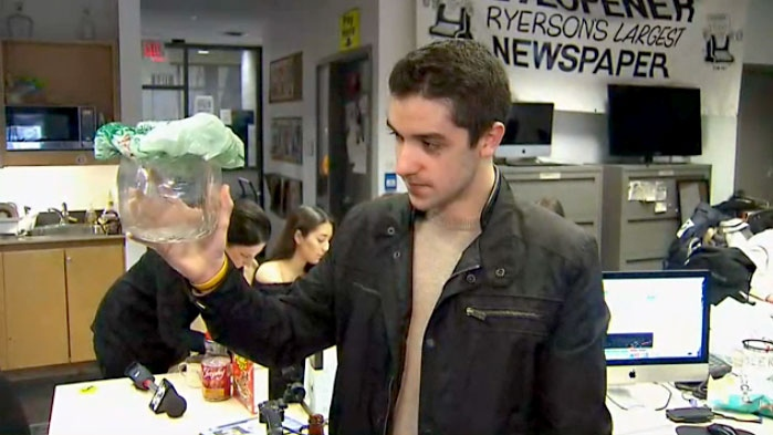 Brent Smyth, Ryerson University student, finds bedbugs in his classroom on campus.