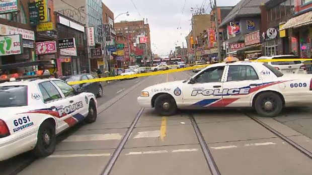 An elderly pedestrian was taken to hospital with critical injuries after being hit by a vehicle in Toronto's Chinatown neighbourhood on March 13, 2018.