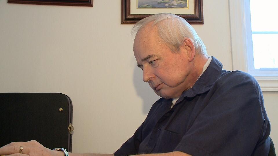 Don Kent writing his blog.